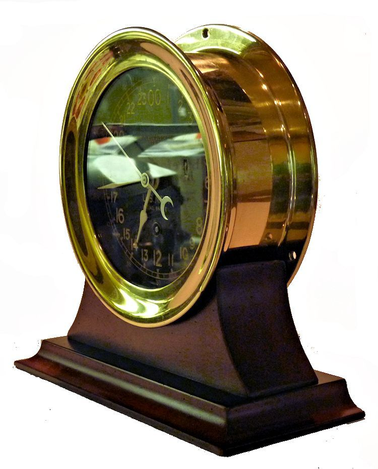 Partial fron view of the Chelsea black face 24 hour clock image