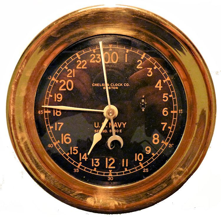 Chelsea WW II 24 black face clock image