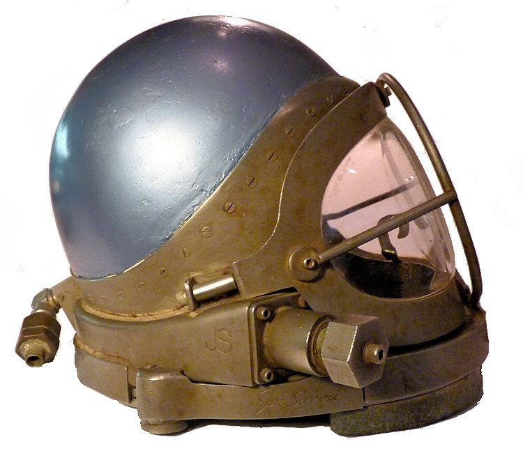 Partial side view of Joe Savoie Fiberglass dive helmet image