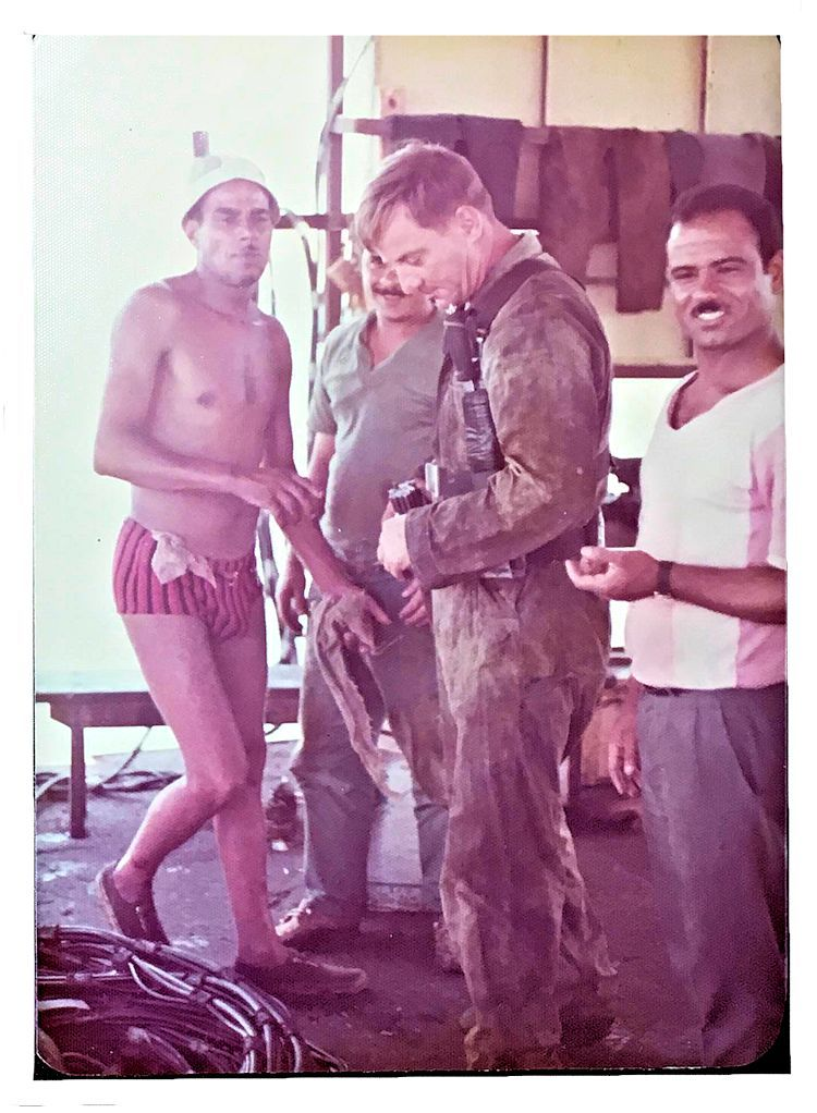 Woody Meeks suiting up for a Suez Canal dive in 1975 image