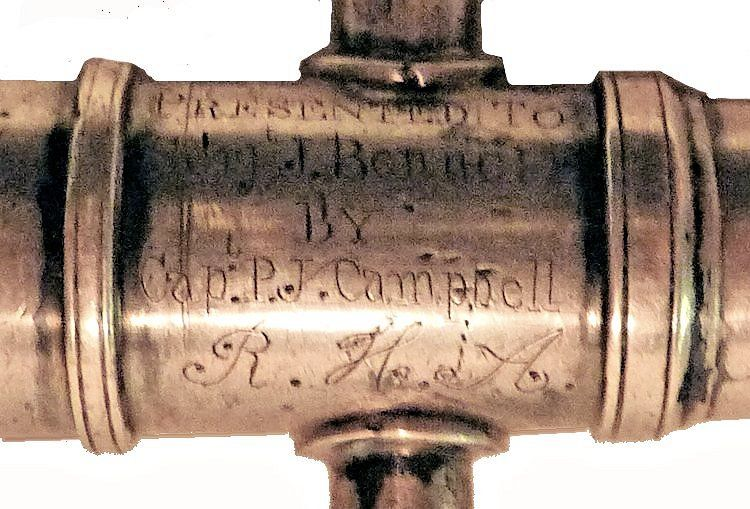 Engraving on the silver presentation cannon barrel image
