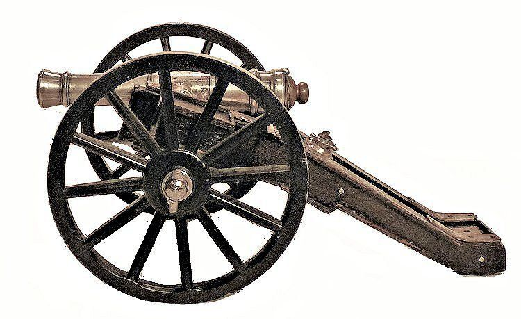 Leftside of the miniature silver presentation field cannon image