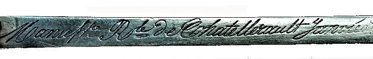 The foundry's inscription on the spine of the blade image