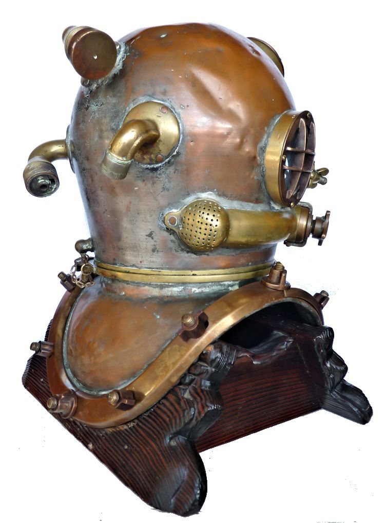 Partial rear rightside view of the 1942 Schrader Navy MK V dive helmet image
