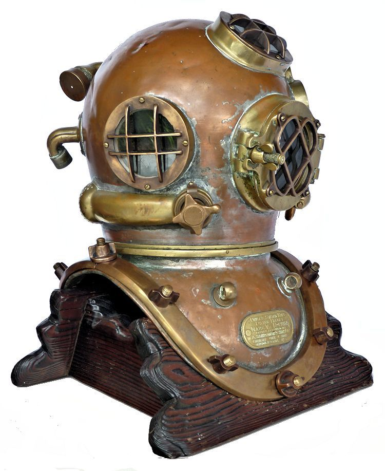 Partial front rightside view of the 1942 Schrader Navy MK V dive helmet image