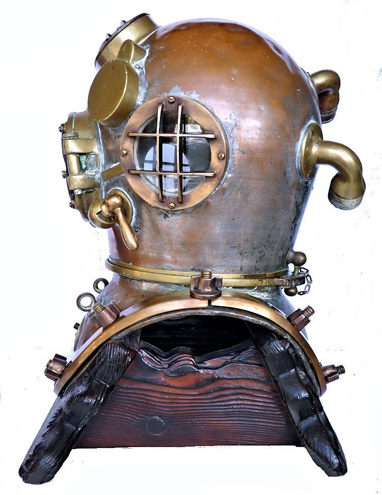 Left side of 1942 Schrader Navy MK V dive helmet image