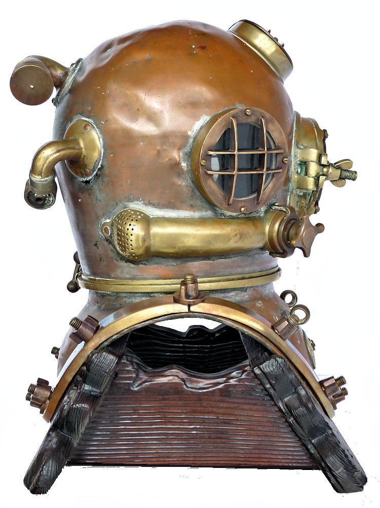 Right side of 1942 Schrader Navy MK V dive helmet image