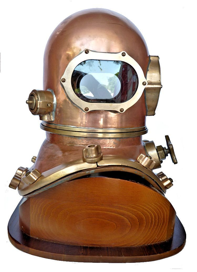 Rightside of the                                     David L. Clark copper dive helmet image