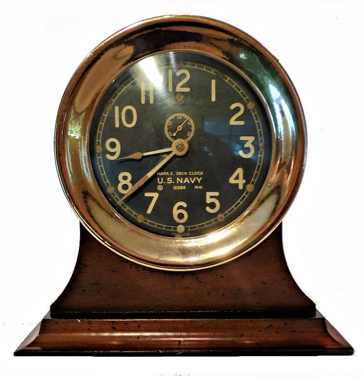 US Navy MK I Deck Clock on stand image