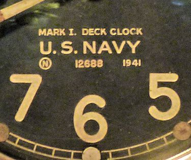 Markings on face of MK I Deck Clock image