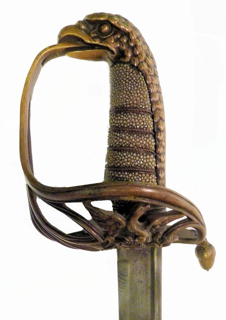Obverse hilt of the naval officers eagle head sword Ca 1835 image