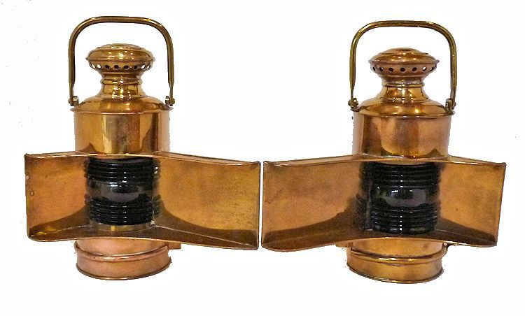 Front view of Early Navy Brass Navigation Lights image