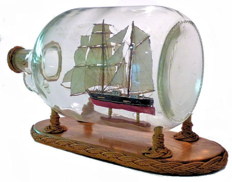 Stern view of American brig rigged model image