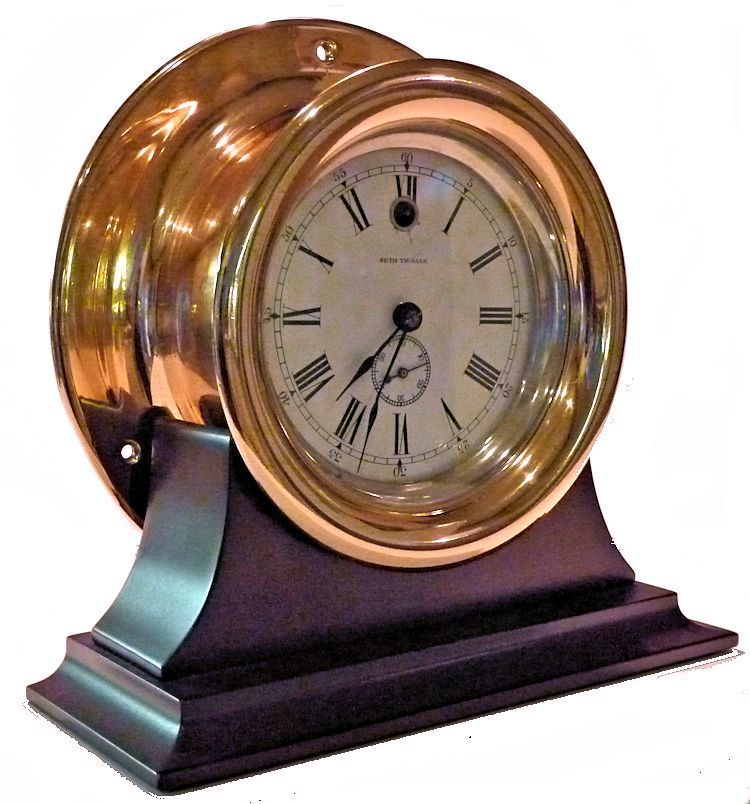 Partial rightside view of the Seth Thomas side wind clock image