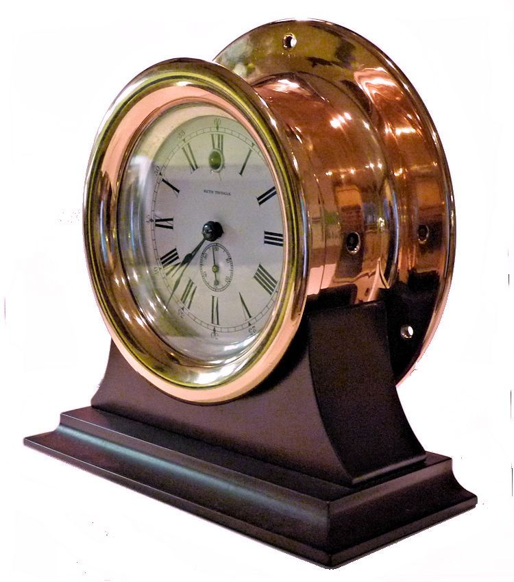 Partial leftside view of the Seth Thomas side wind clock image