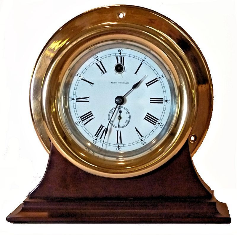 Rare Seth Thomas Side Wind Ships Clock in brass case on stand image