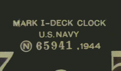 Markings on Seth Thomas 1944 Navy MK I Deck Clock image