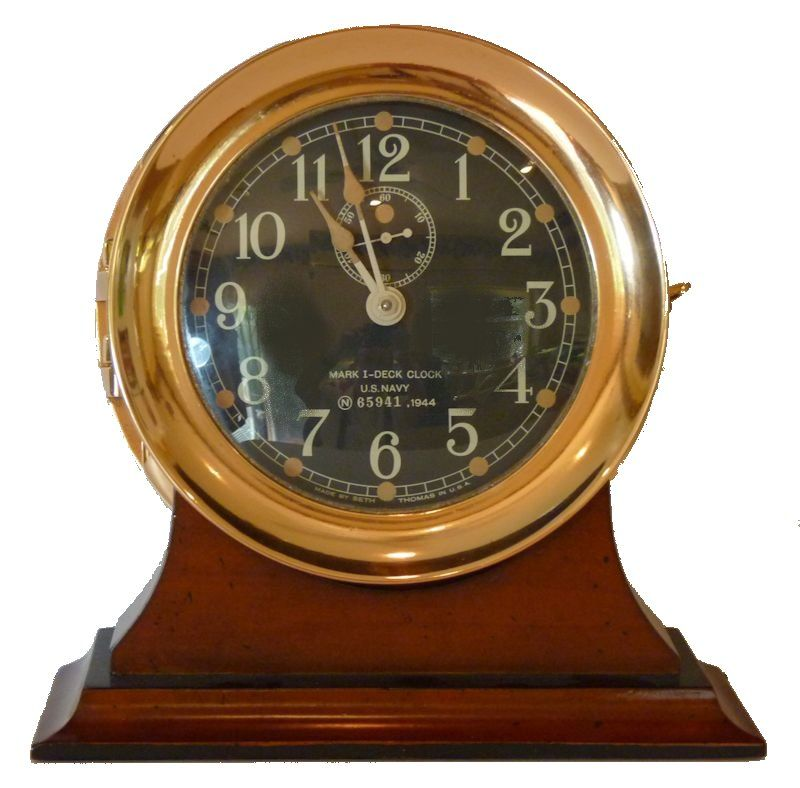 Front view of Seth Thomas WW II Navy MK I Deck Clock image