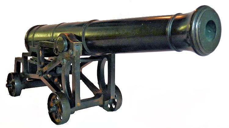 Miniature bronze naval cannon skeleton carriage from the front image