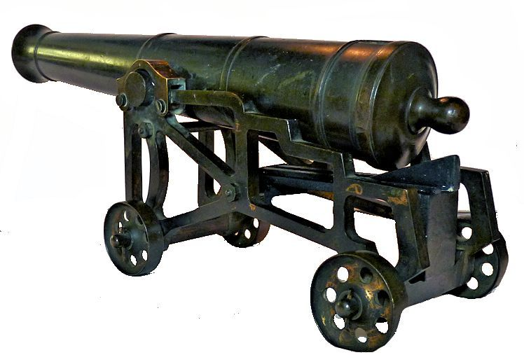 Miniature bronze naval cannon skeleton carriage from the rear image