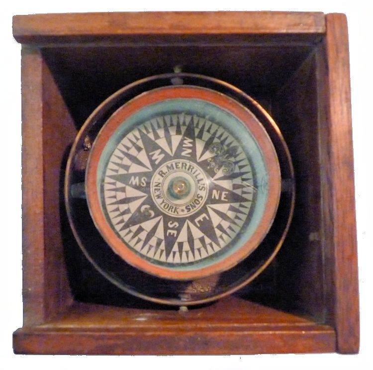 Robert                                     Merrill boxed compass image