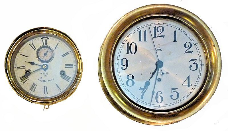 Comparative difference in size between a 6 inch and 8 inch clock image