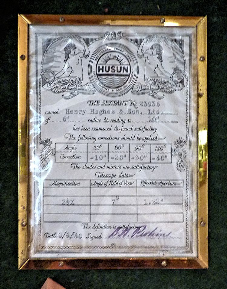 Maker's certificate of non-adjustable error on the Weems' instrument image