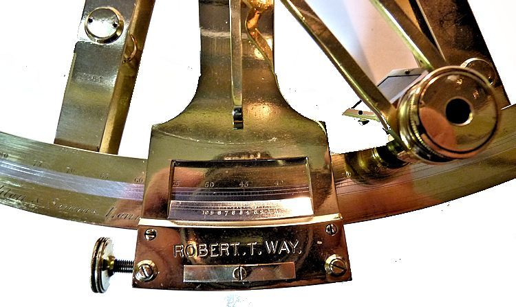 Close-up of vernier showing the maker's and Way's name image