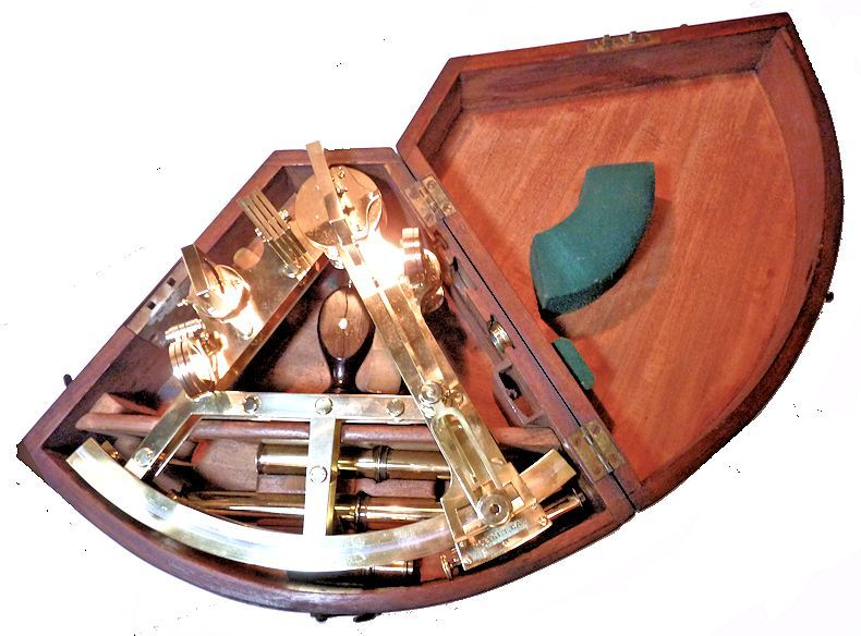 Way Double frame sextant housed                                     in open case image