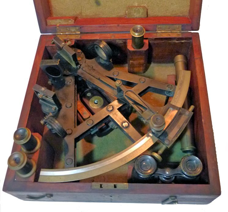 Hughes Double frame sextant housed in open case image