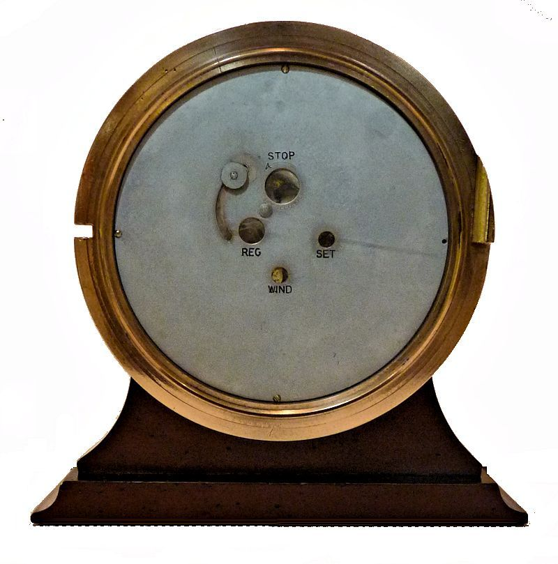 Back view of 1940 Chelsea MK I Deck clock showing dust cover over the controls image