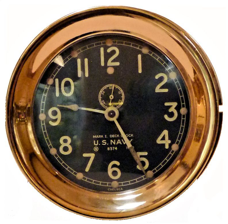 Markings on face of Chelsea 1940 MK I Deck Clock image