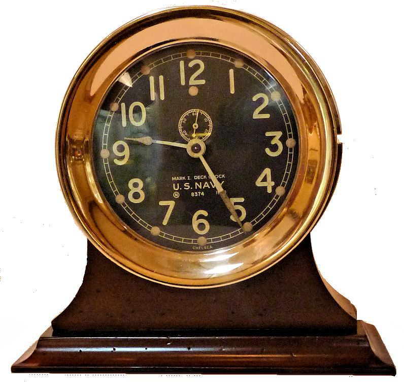 Chelsea 1940 US Navy MK I Deck Clock on stand image