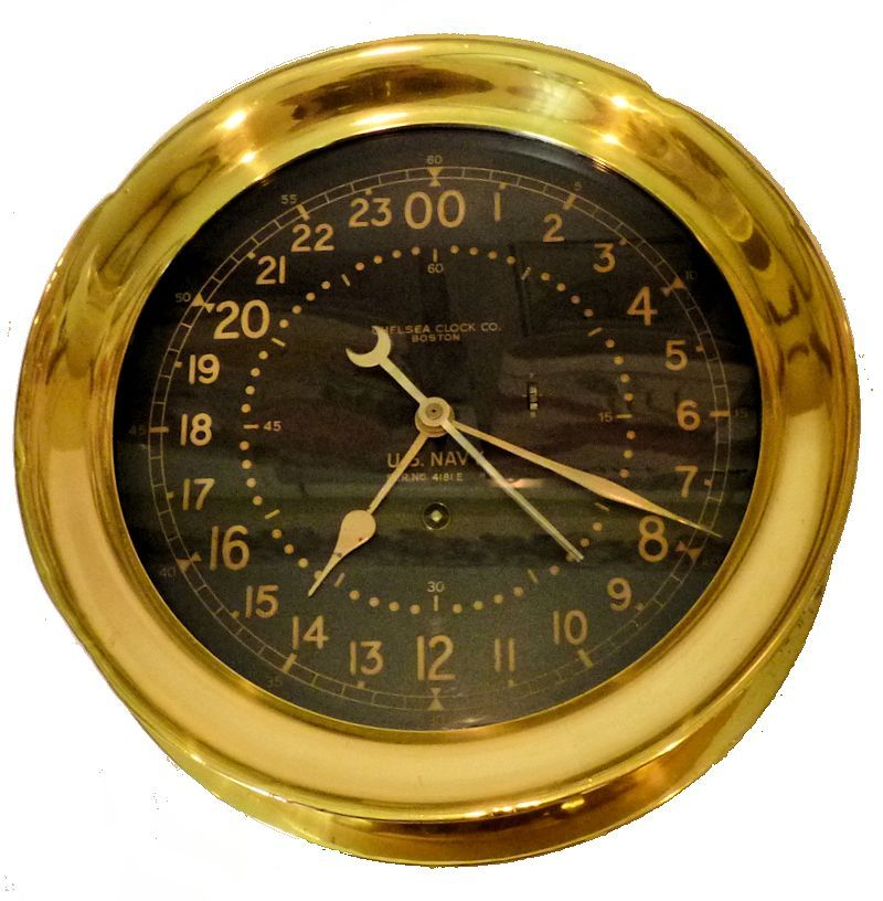 Chelsea US Navy Black 24 hour face WW II Combat Information Center ships clock image