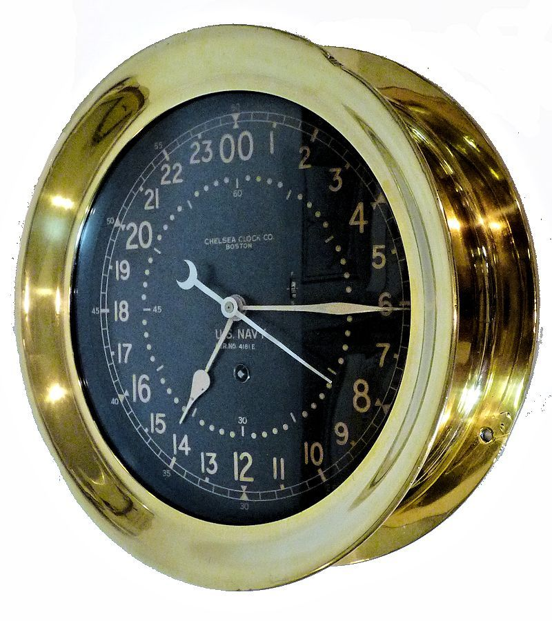 Partial front view of the Chelsea 10 inch black face 24 hour clock image