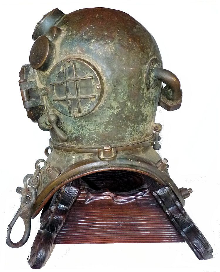 Light side of 1942 Schrader Navy MK V dive helmet image