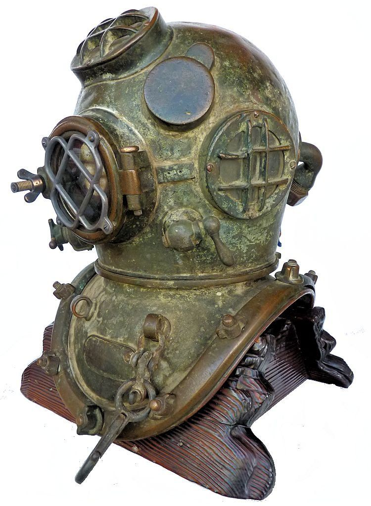 Partial side view of front of 1942 Schrader Navy MK V dive helmet image