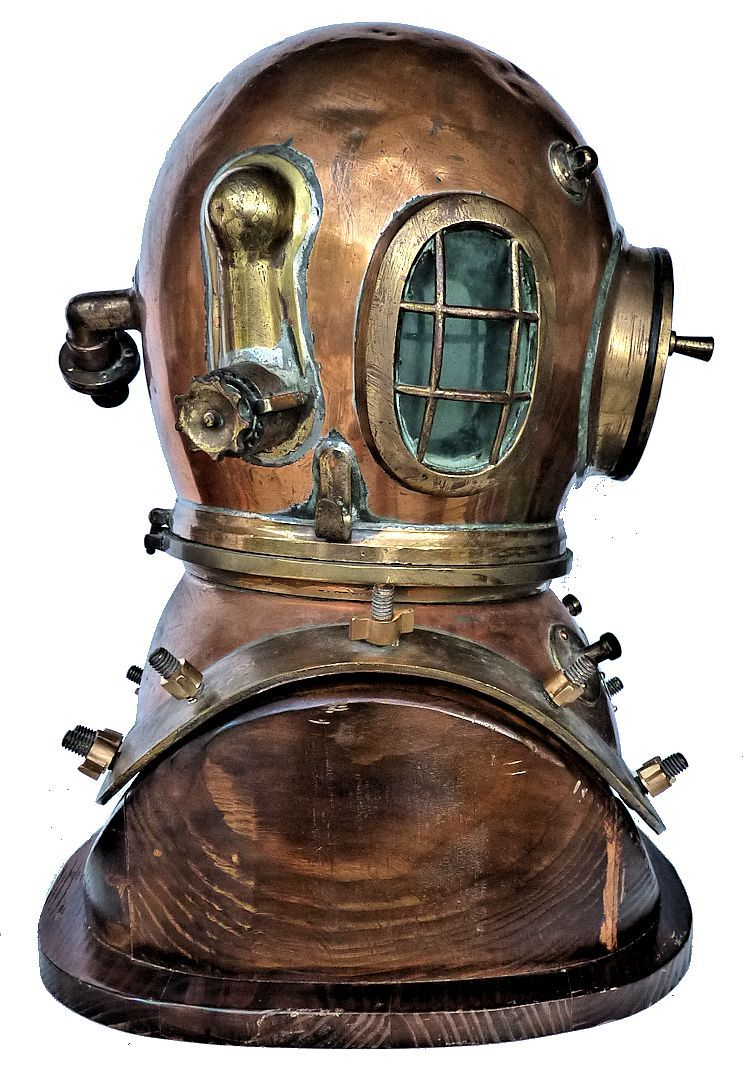 Right side of Siebe Gorman 12 bolt dive helmet image
