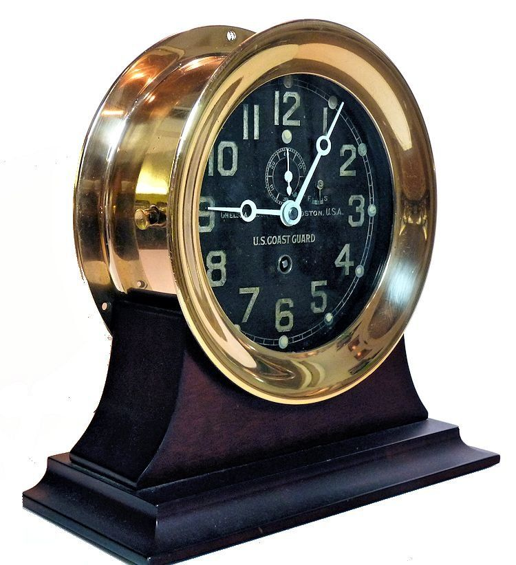 Angled view of front of Chelsea USCG ship's clock image