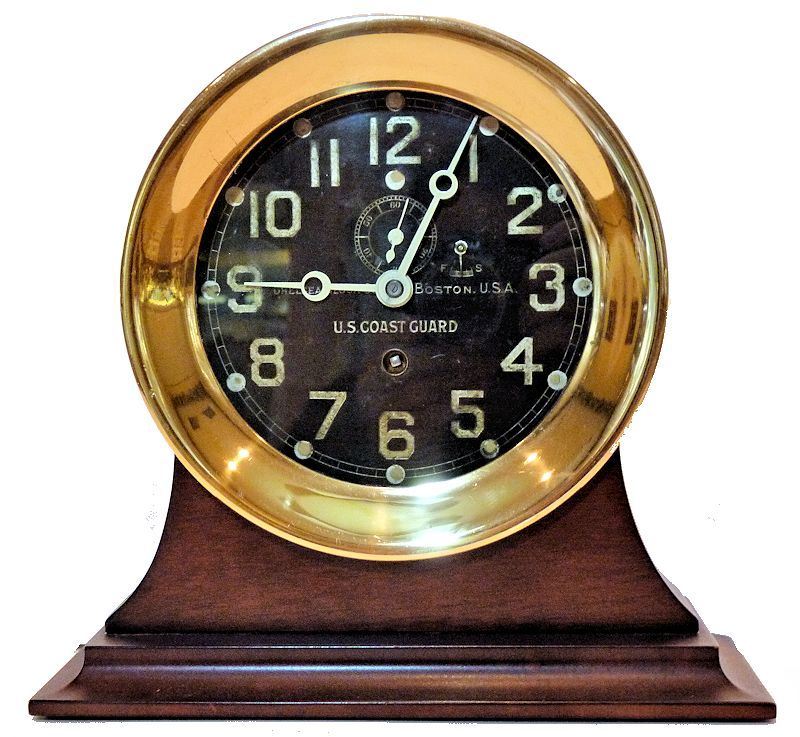 USCG Pre WW II high quality ship's Clock on stand image