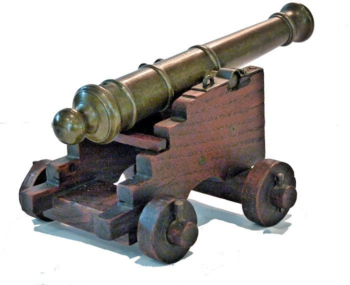 Quarter rear view of right side of Royal George cannon relic image