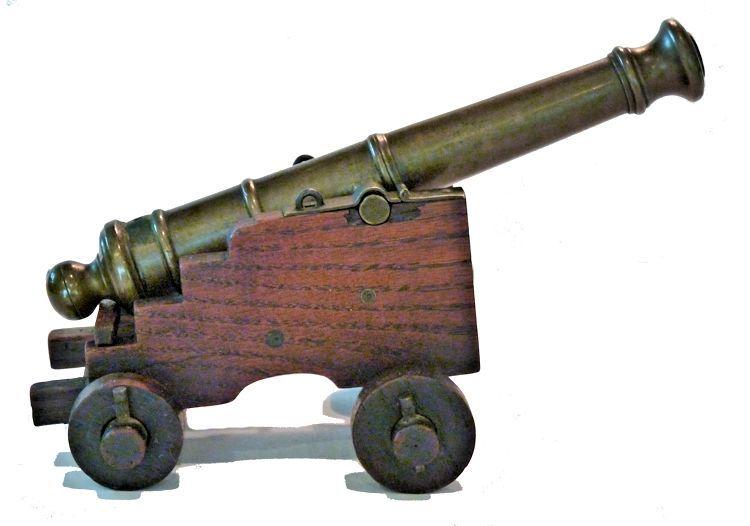 Royal George cannon relic with elevated barrel image