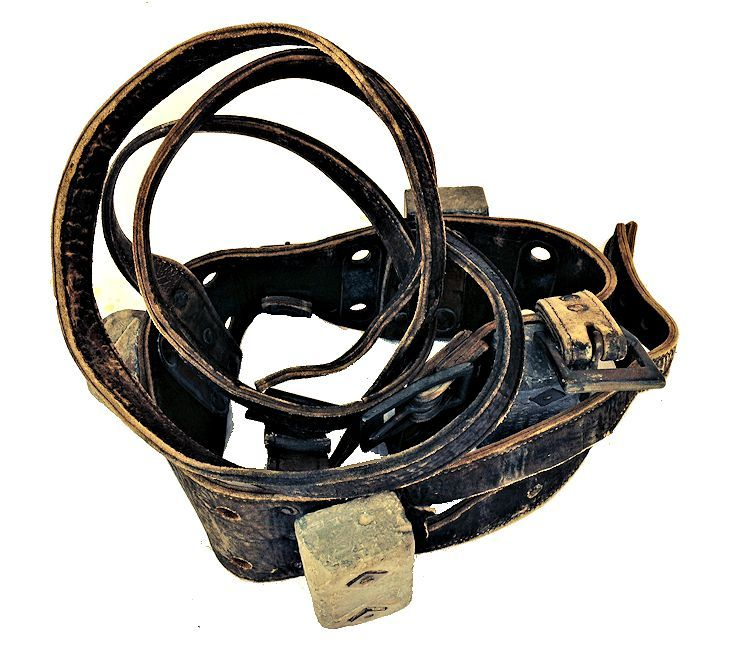 Rolled up view of Morse Navy leather dive belt