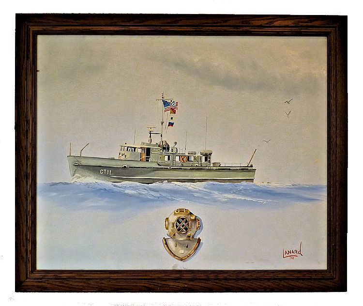 Navy dive boat paintng oil on Canvas image