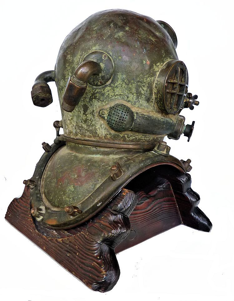 Partial side view of back of 1942 Schrader Navy MK V dive helmet image>