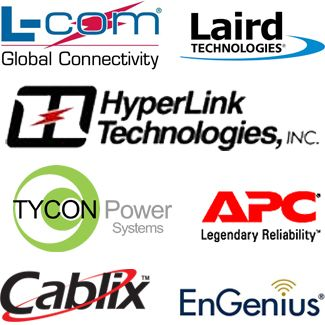 Laird Antennas, Tycon Power, Cables de Ethernet, Cameras IP, APC