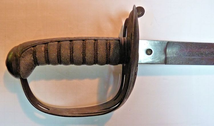 Civil War sword's obverse hilt image