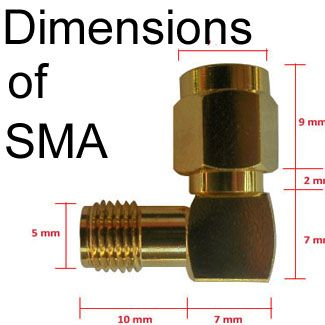 Dimensions % Measurements of SMA connectors