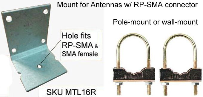 L-mount bracket for antenna with RP-SMA Connector
