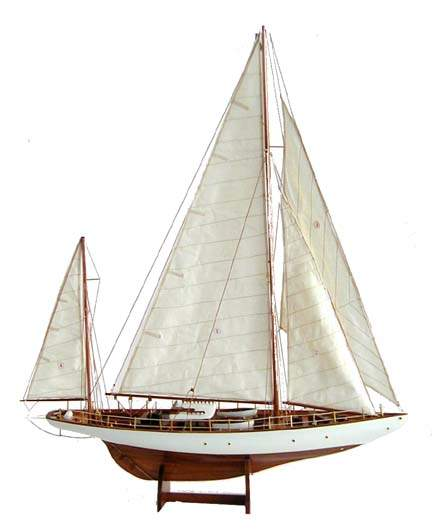 One of a collection of classic sailboat models